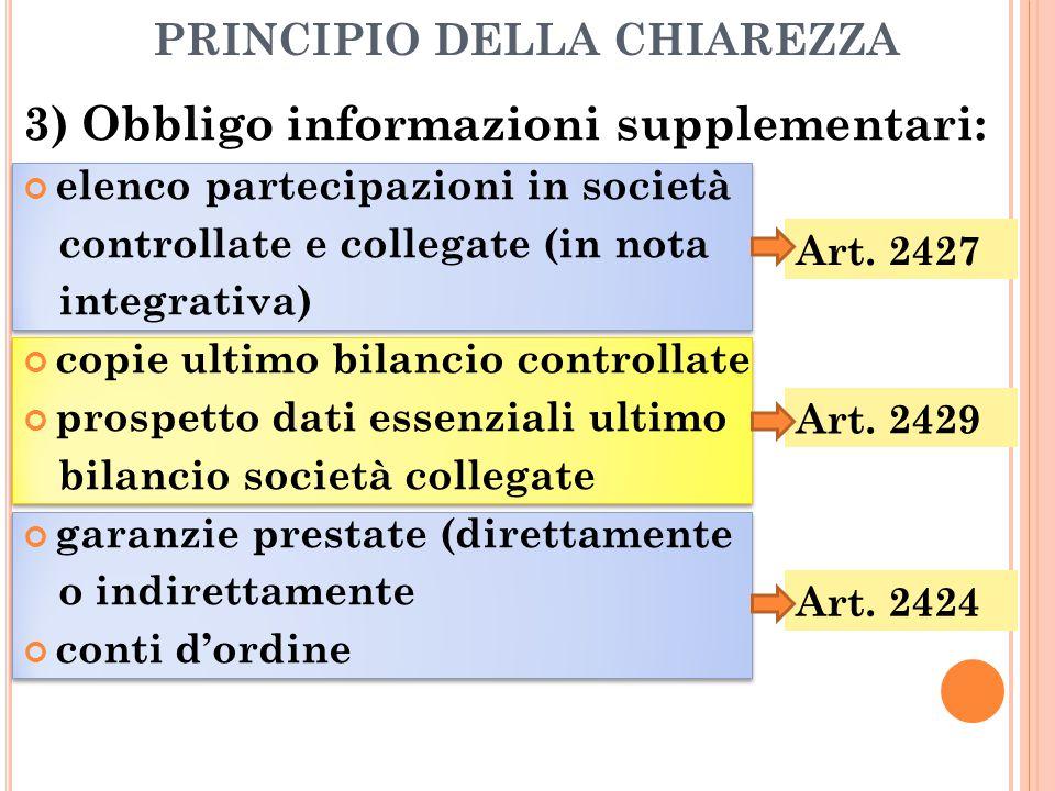 PRINCIPIO DELLA CHIAREZZA 3) Obbligo informazioni supplementari: elenco partecipazioni in società controllate e collegate (in nota integrativa) copie