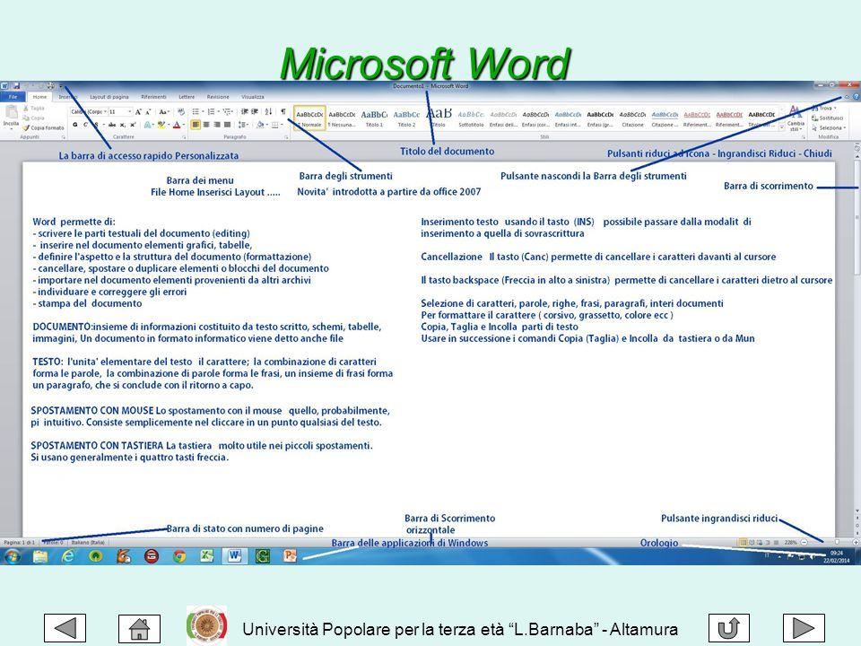 """Università Popolare per la terza età """"L.Barnaba"""" - Altamura Microsoft Word"""