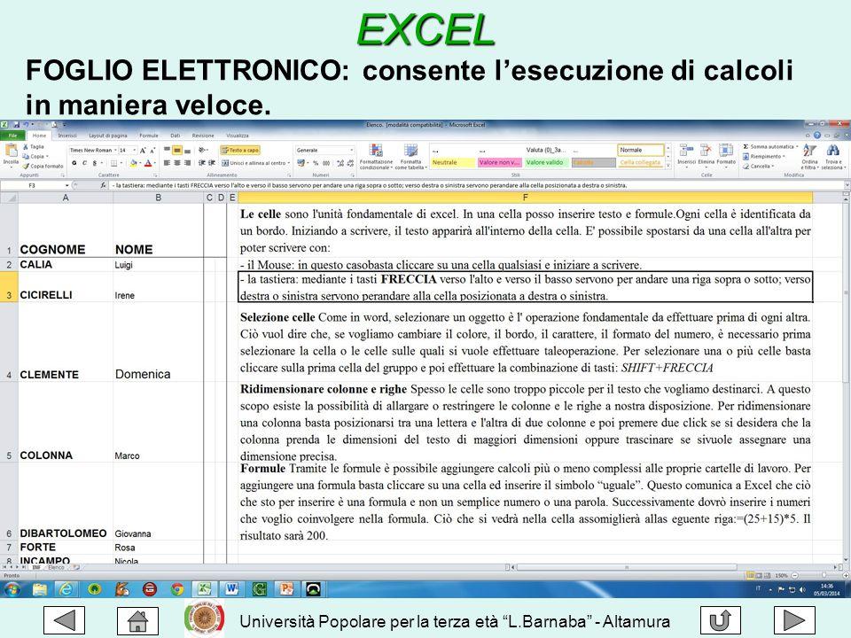 """EXCEL Università Popolare per la terza età """"L.Barnaba"""" - Altamura FOGLIO ELETTRONICO: consente l'esecuzione di calcoli in maniera veloce."""