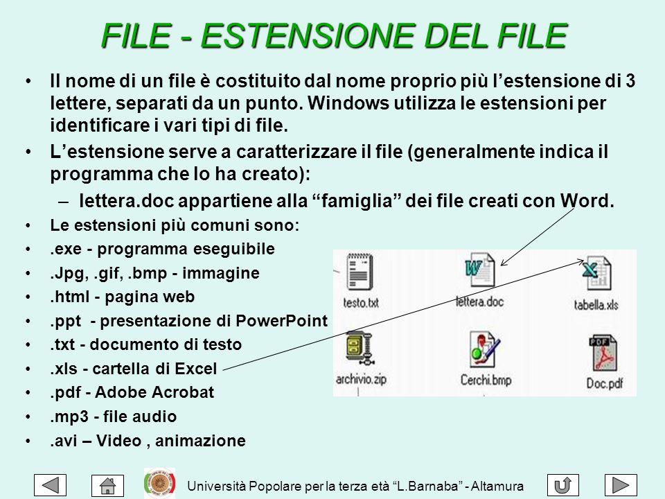 Il nome di un file è costituito dal nome proprio più l'estensione di 3 lettere, separati da un punto. Windows utilizza le estensioni per identificare