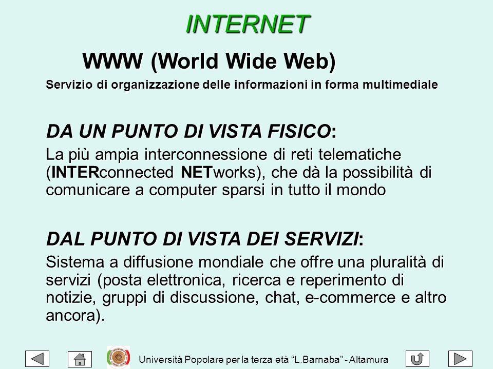 INTERNET WWW (World Wide Web) WWW (World Wide Web) Servizio di organizzazione delle informazioni in forma multimediale DA UN PUNTO DI VISTA FISICO: La