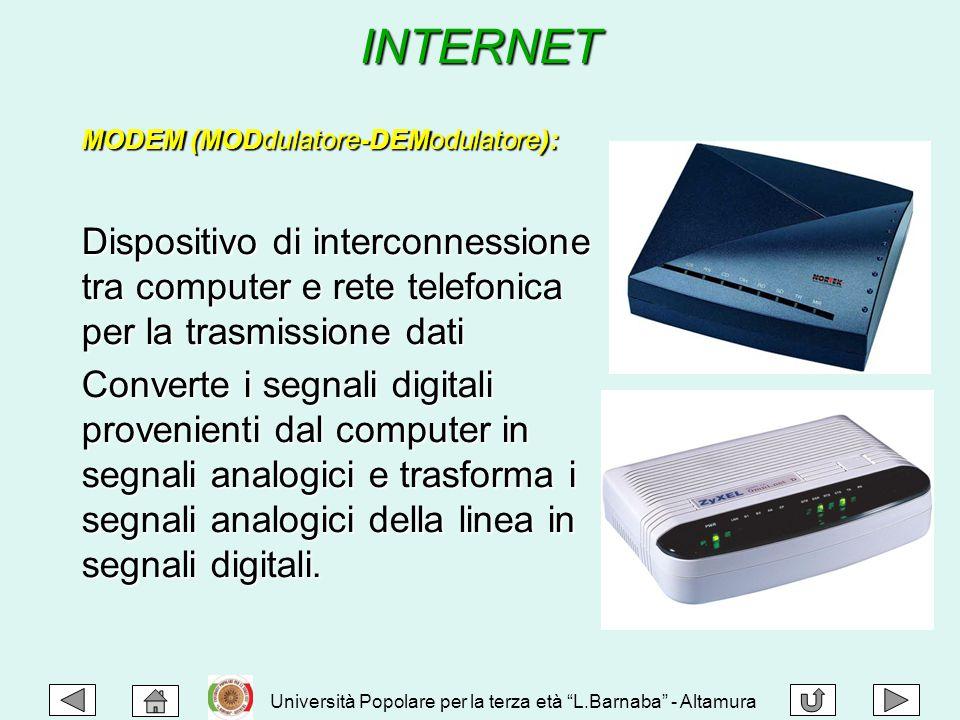 INTERNET MODEM (MODdulatore-DEModulatore): Dispositivo di interconnessione tra computer e rete telefonica per la trasmissione dati Converte i segnali