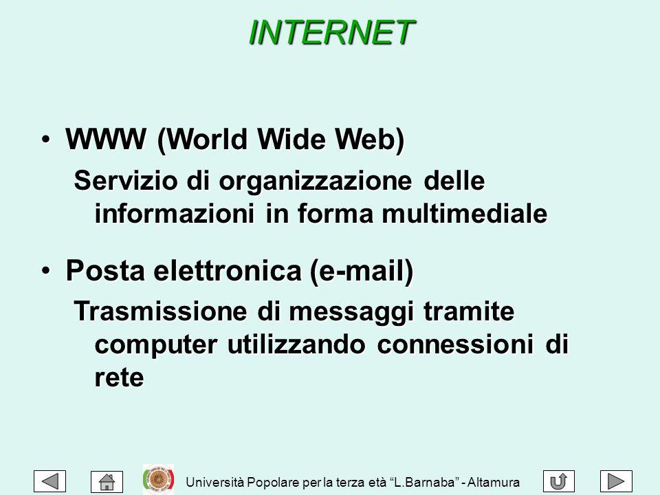 INTERNET WWW (World Wide Web)WWW (World Wide Web) Servizio di organizzazione delle informazioni in forma multimediale Posta elettronica (e-mail)Posta