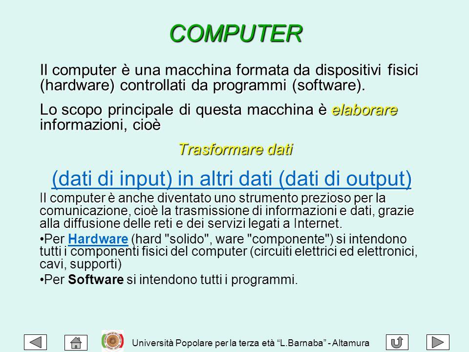 Il computer è una macchina formata da dispositivi fisici (hardware) controllati da programmi (software). Lo scopo principale di questa macchina è elab