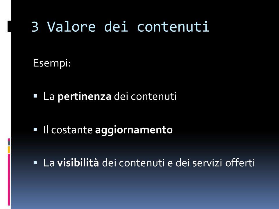 3 Valore dei contenuti Esempi:  La pertinenza dei contenuti  Il costante aggiornamento  La visibilità dei contenuti e dei servizi offerti