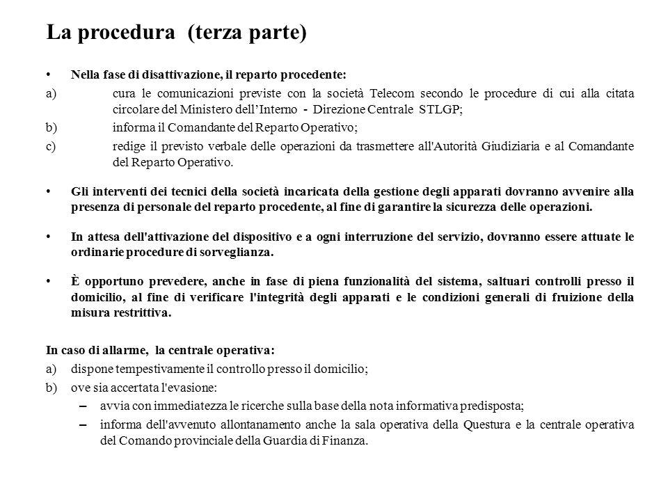 La procedura (terza parte) Nella fase di disattivazione, il reparto procedente: a)cura le comunicazioni previste con la società Telecom secondo le pro