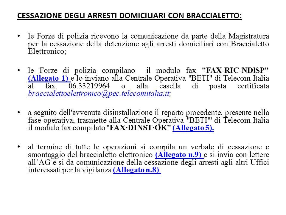 CESSAZIONE DEGLI ARRESTI DOMICILIARI CON BRACCIALETTO: le Forze di polizia ricevono la comunicazione da parte della Magistratura per la cessazione del