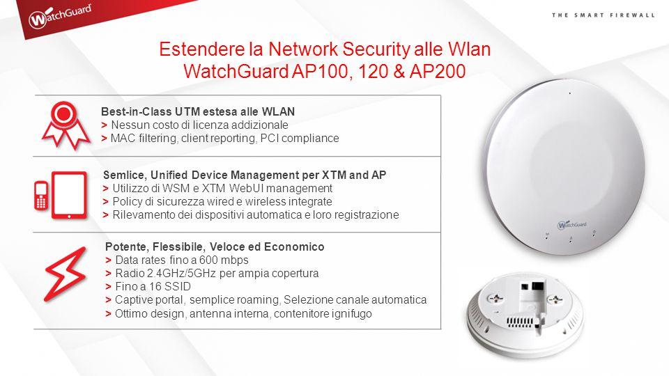 Estendere la Network Security alle Wlan WatchGuard AP100, 120 & AP200 Best-in-Class UTM estesa alle WLAN > Nessun costo di licenza addizionale > MAC f