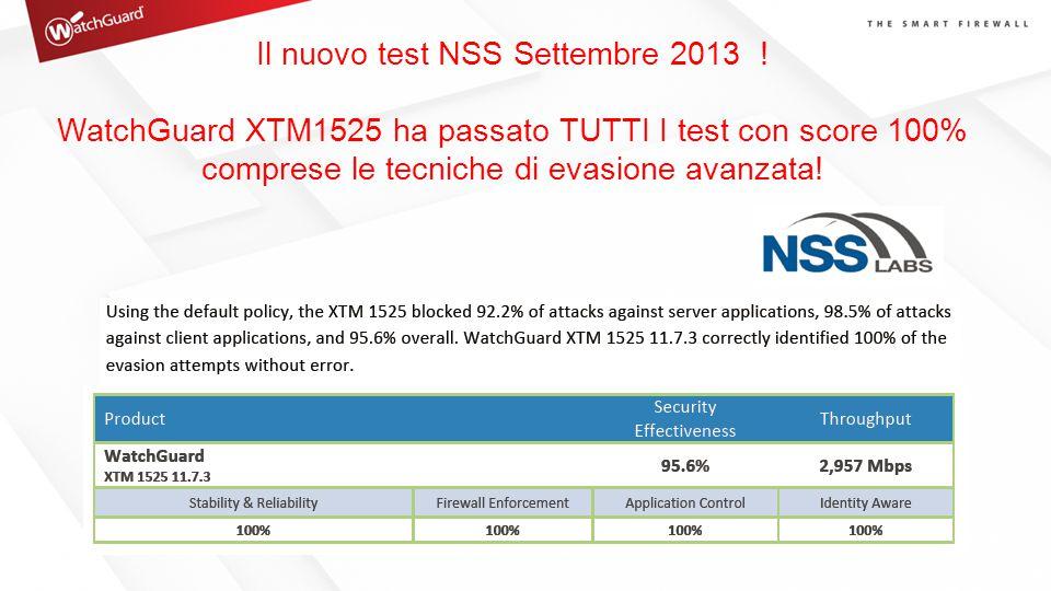 Il nuovo test NSS Settembre 2013 ! WatchGuard XTM1525 ha passato TUTTI I test con score 100% comprese le tecniche di evasione avanzata!