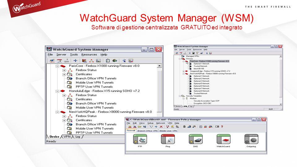 WatchGuard System Manager (WSM) Software di gestione centralizzata GRATUITO ed integrato