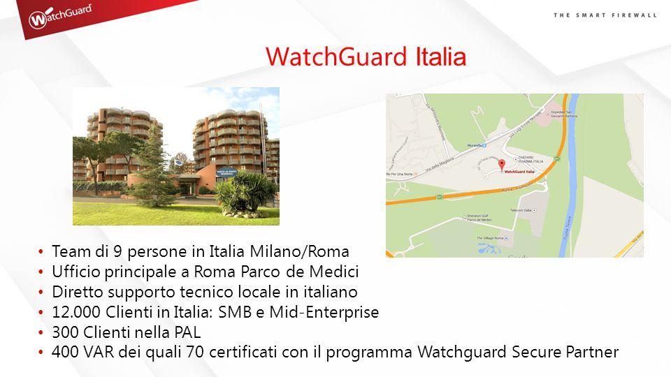 WatchGuard Italia Team di 9 persone in Italia Milano/Roma Ufficio principale a Roma Parco de Medici Diretto supporto tecnico locale in italiano 12.000