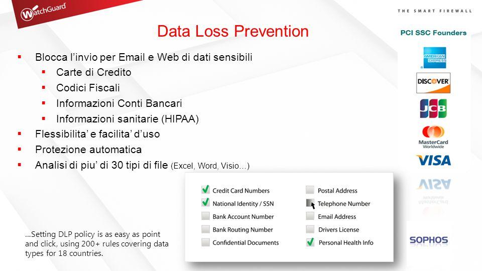 Data Loss Prevention  Blocca l'invio per Email e Web di dati sensibili  Carte di Credito  Codici Fiscali  Informazioni Conti Bancari  Informazion