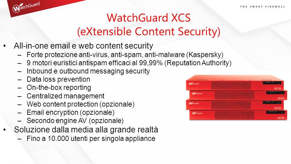 All-in-one email e web content security –Forte protezione anti-virus, anti-spam, anti-malware (Kaspersky) –9 motori euristici antispam efficaci al 99,