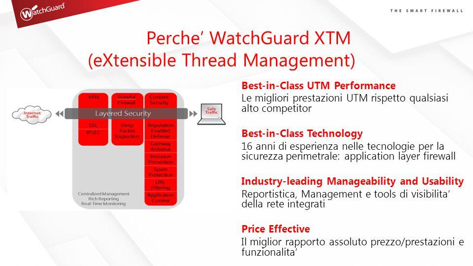 Perche' WatchGuard XTM (eXtensible Thread Management) Best-in-Class UTM Performance Le migliori prestazioni UTM rispetto qualsiasi alto competitor Bes