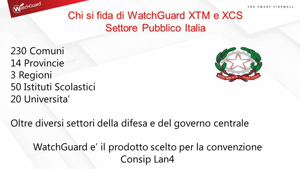 Chi si fida di WatchGuard XTM e XCS Settore Pubblico Italia 230 Comuni 14 Provincie 3 Regioni 50 Istituti Scolastici 20 Universita' Oltre diversi sett