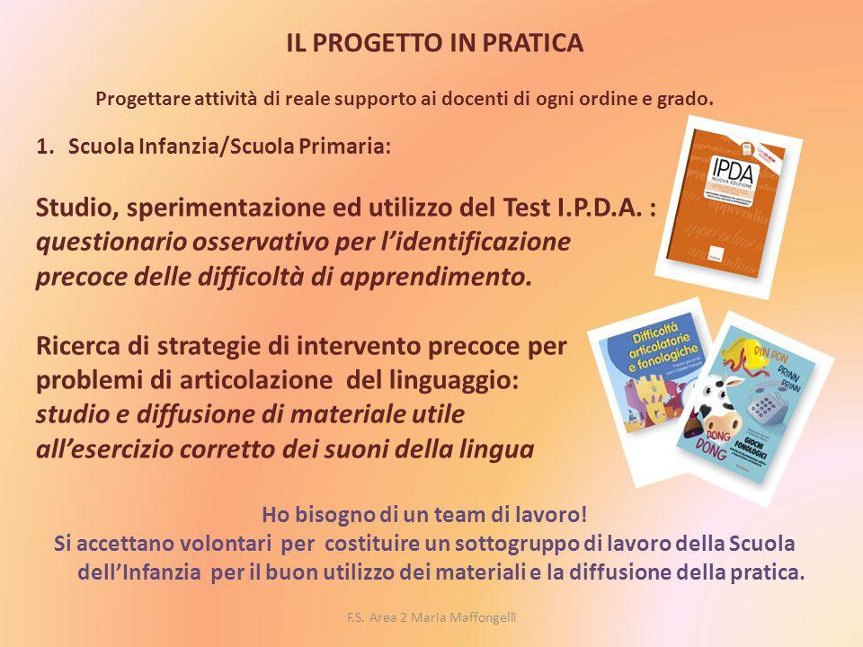 F.S. Area 2 Maria Maffongelli IL PROGETTO IN PRATICA Progettare attività di reale supporto ai docenti di ogni ordine e grado. 1.Scuola Infanzia/Scuola