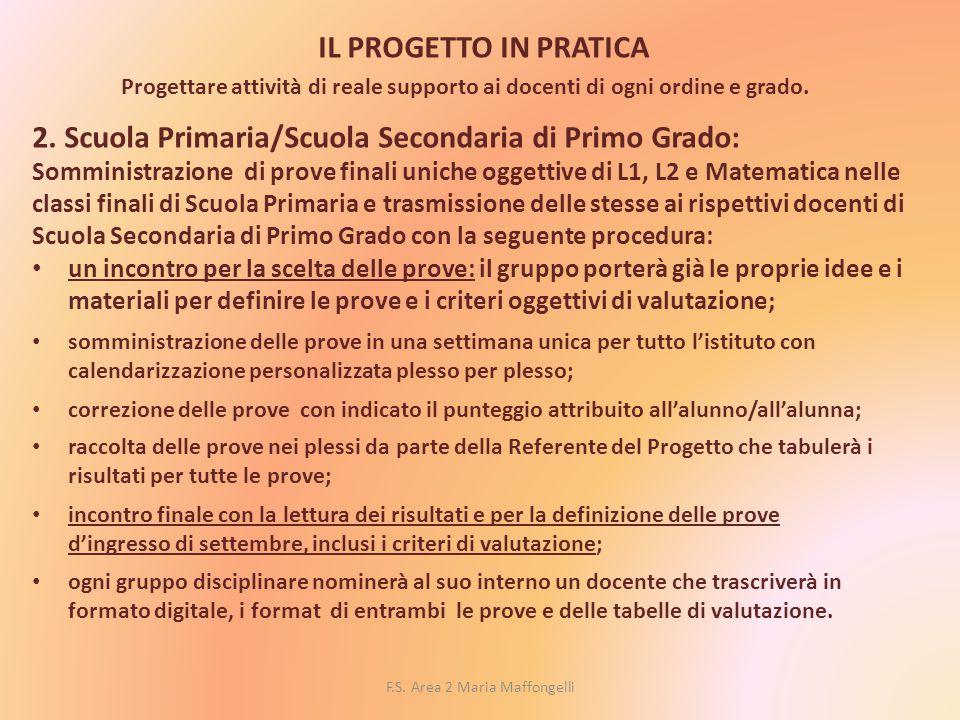 F.S. Area 2 Maria Maffongelli IL PROGETTO IN PRATICA Progettare attività di reale supporto ai docenti di ogni ordine e grado. 2. Scuola Primaria/Scuol