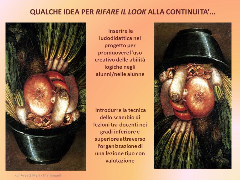 F.S. Area 2 Maria Maffongelli QUALCHE IDEA PER RIFARE IL LOOK ALLA CONTINUITA'… Inserire la ludodidattica nel progetto per promuovere l'uso creativo d