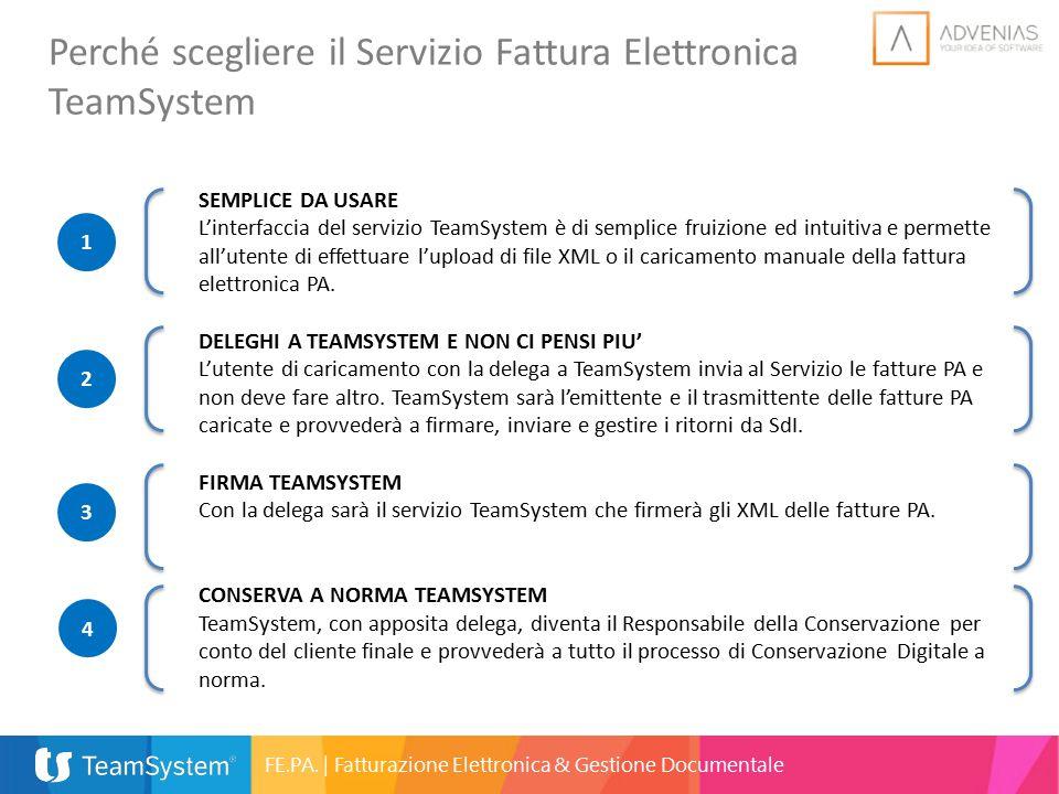 Perché scegliere il Servizio Fattura Elettronica TeamSystem SEMPLICE DA USARE L'interfaccia del servizio TeamSystem è di semplice fruizione ed intuiti