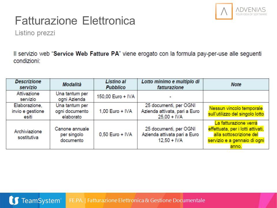Fatturazione Elettronica Listino prezzi FE.PA. | Fatturazione Elettronica & Gestione Documentale