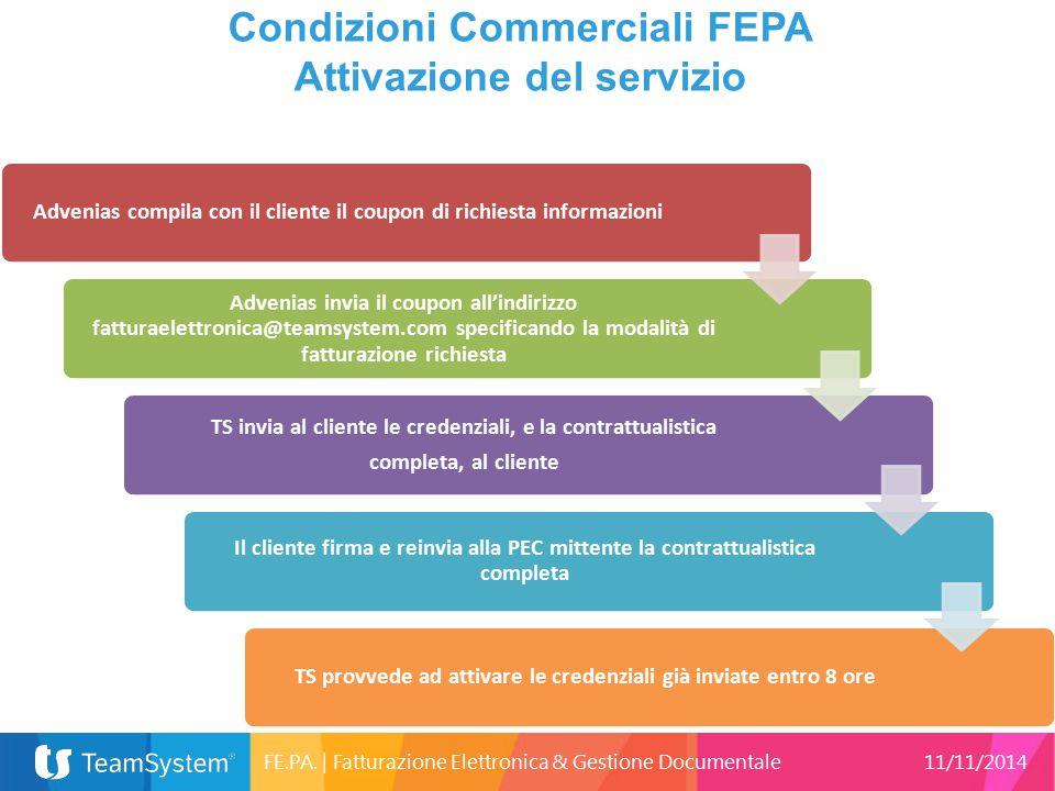 16 Condizioni Commerciali FEPA Attivazione del servizio 25633 Advenias compila con il cliente il coupon di richiesta informazioni Advenias invia il co