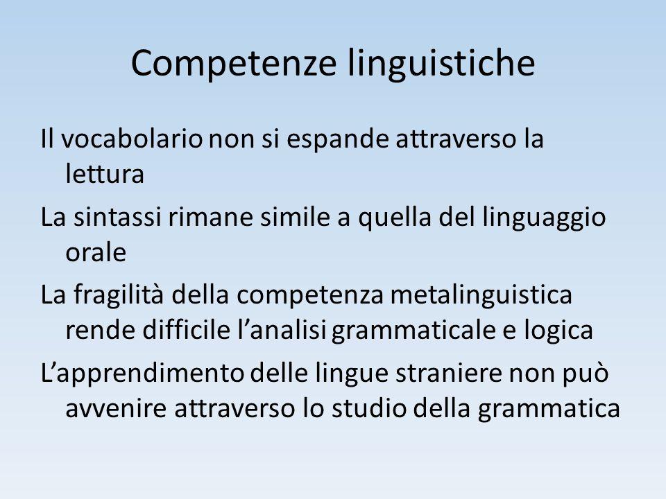 Competenze linguistiche Il vocabolario non si espande attraverso la lettura La sintassi rimane simile a quella del linguaggio orale La fragilità della