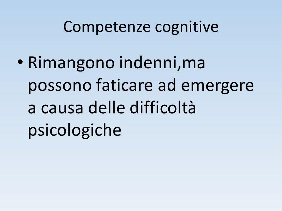 Competenze cognitive Rimangono indenni,ma possono faticare ad emergere a causa delle difficoltà psicologiche