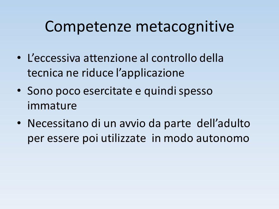 Competenze metacognitive L'eccessiva attenzione al controllo della tecnica ne riduce l'applicazione Sono poco esercitate e quindi spesso immature Nece