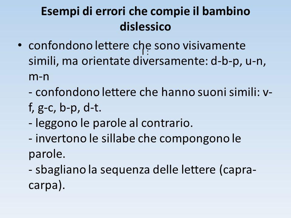 Esempi di errori che compie il bambino dislessico I : confondono lettere che sono visivamente simili, ma orientate diversamente: d-b-p, u-n, m-n - con
