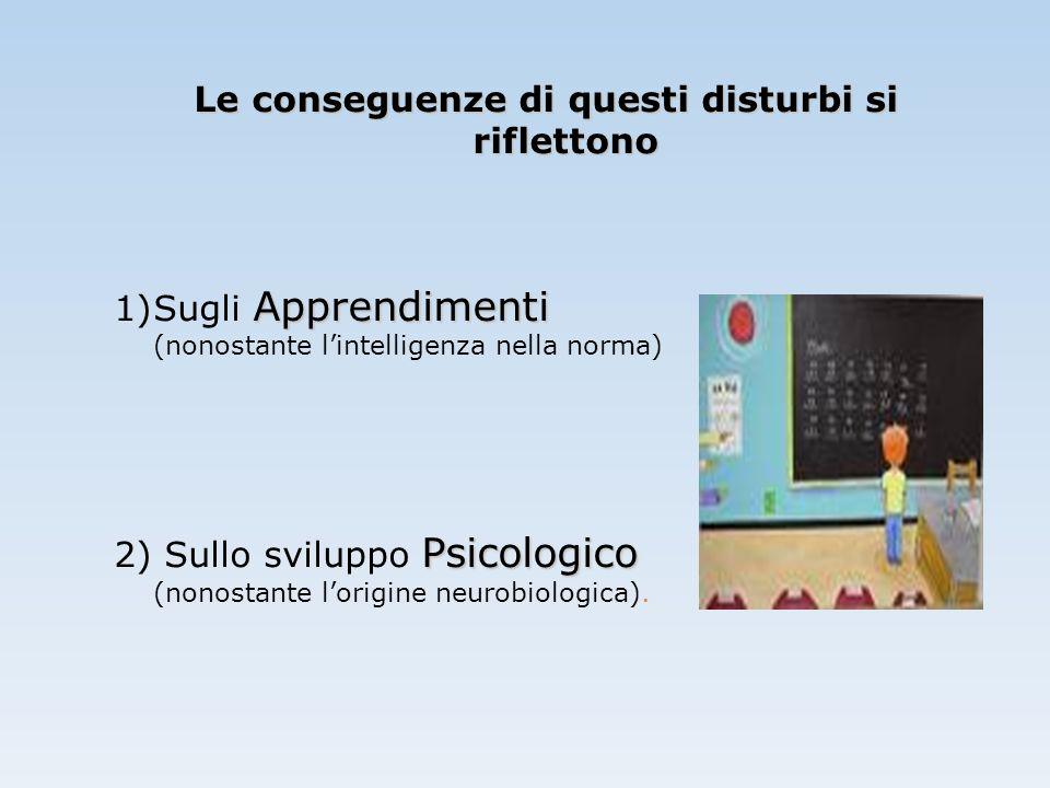 Le conseguenze di questi disturbi si riflettono Apprendimenti 1)Sugli Apprendimenti (nonostante l'intelligenza nella norma) Psicologico 2) Sullo svilu