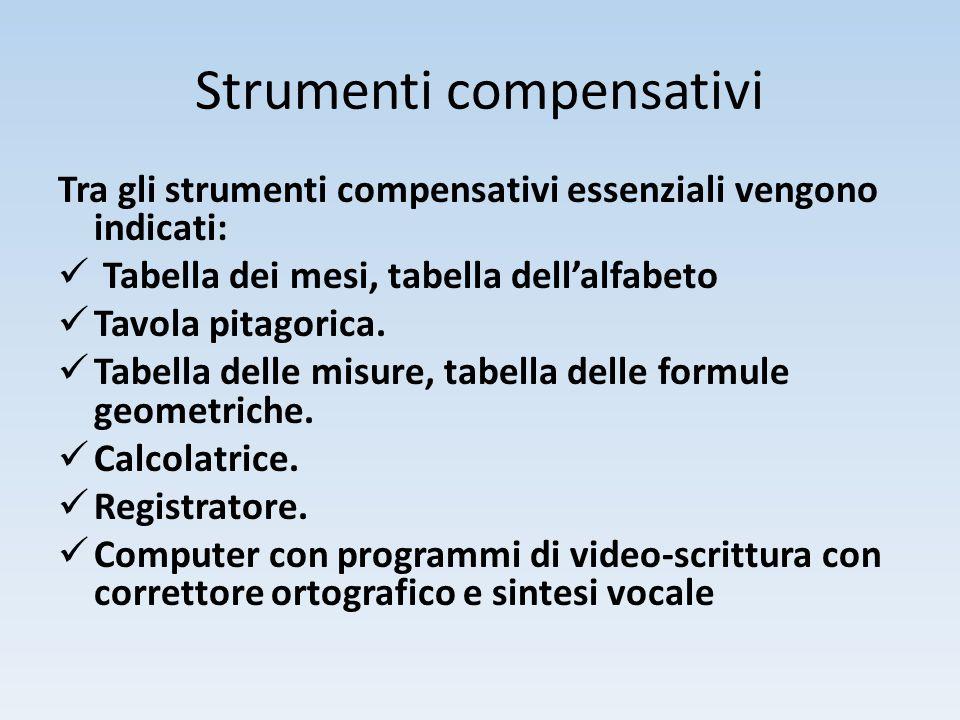 Strumenti compensativi Tra gli strumenti compensativi essenziali vengono indicati: Tabella dei mesi, tabella dell'alfabeto Tavola pitagorica. Tabella