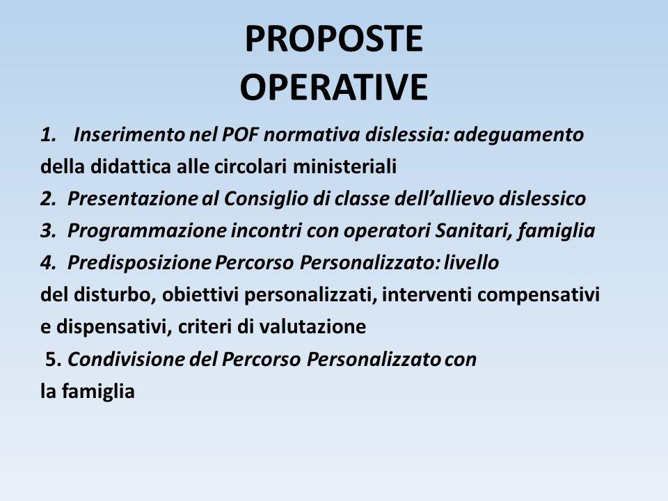 PROPOSTE OPERATIVE 1.Inserimento nel POF normativa dislessia: adeguamento della didattica alle circolari ministeriali 2. Presentazione al Consiglio di