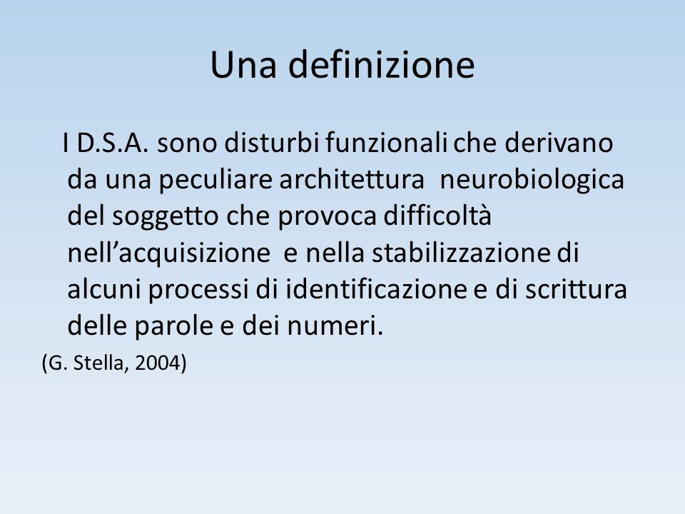 Una definizione I D.S.A. sono disturbi funzionali che derivano da una peculiare architettura neurobiologica del soggetto che provoca difficoltà nell'a