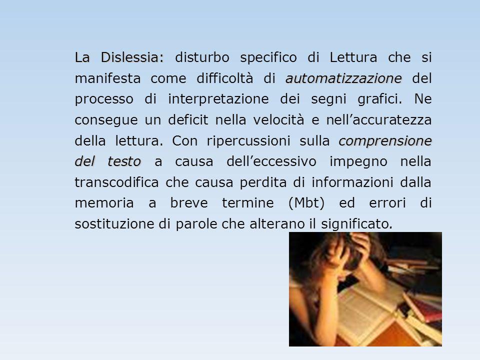 La Dislessia: automatizzazione comprensione del testo La Dislessia: disturbo specifico di Lettura che si manifesta come difficoltà di automatizzazione