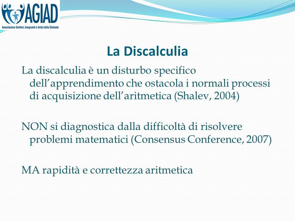 La Discalculia La discalculia è un disturbo specifico dell'apprendimento che ostacola i normali processi di acquisizione dell'aritmetica (Shalev, 2004