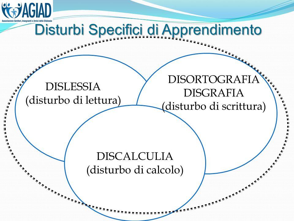 DISCALCULIA (disturbo di calcolo) DISLESSIA (disturbo di lettura) DISORTOGRAFIA DISGRAFIA (disturbo di scrittura) Disturbi Specifici di Apprendimento