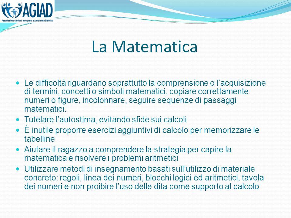 La Matematica Le difficoltà riguardano soprattutto la comprensione o l'acquisizione di termini, concetti o simboli matematici, copiare correttamente n