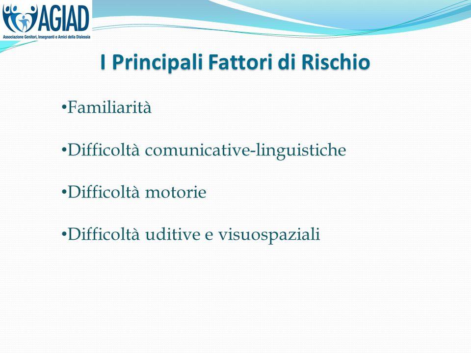 I Principali Fattori di Rischio Familiarità Difficoltà comunicative-linguistiche Difficoltà motorie Difficoltà uditive e visuospaziali