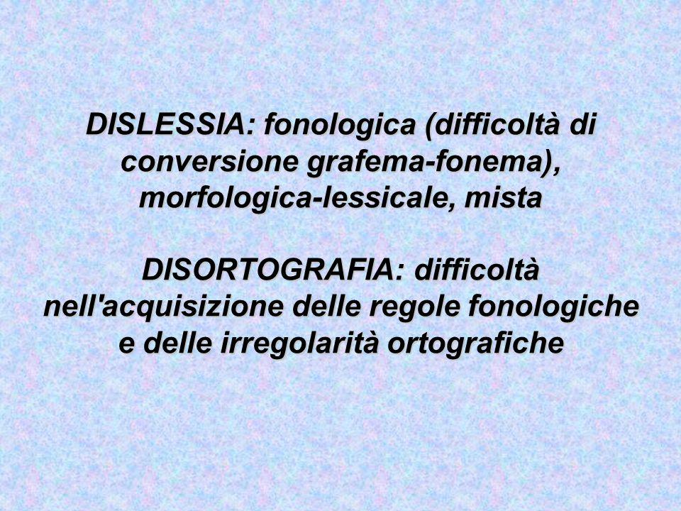 DISGRAFIA Difficoltà specifica nell'esecuzione prassica del codice scritto in presenza di competenze intellettive nell'ambito della norma, in assenza di deficit sensoriali e neurologici e in presenza di un adeguato ambiente di istruzione.