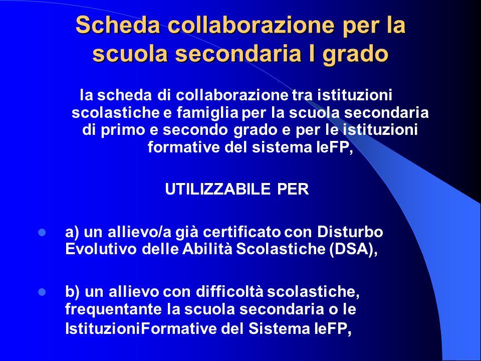 Scheda collaborazione per la scuola secondaria I grado la scheda di collaborazione tra istituzioni scolastiche e famiglia per la scuola secondaria di
