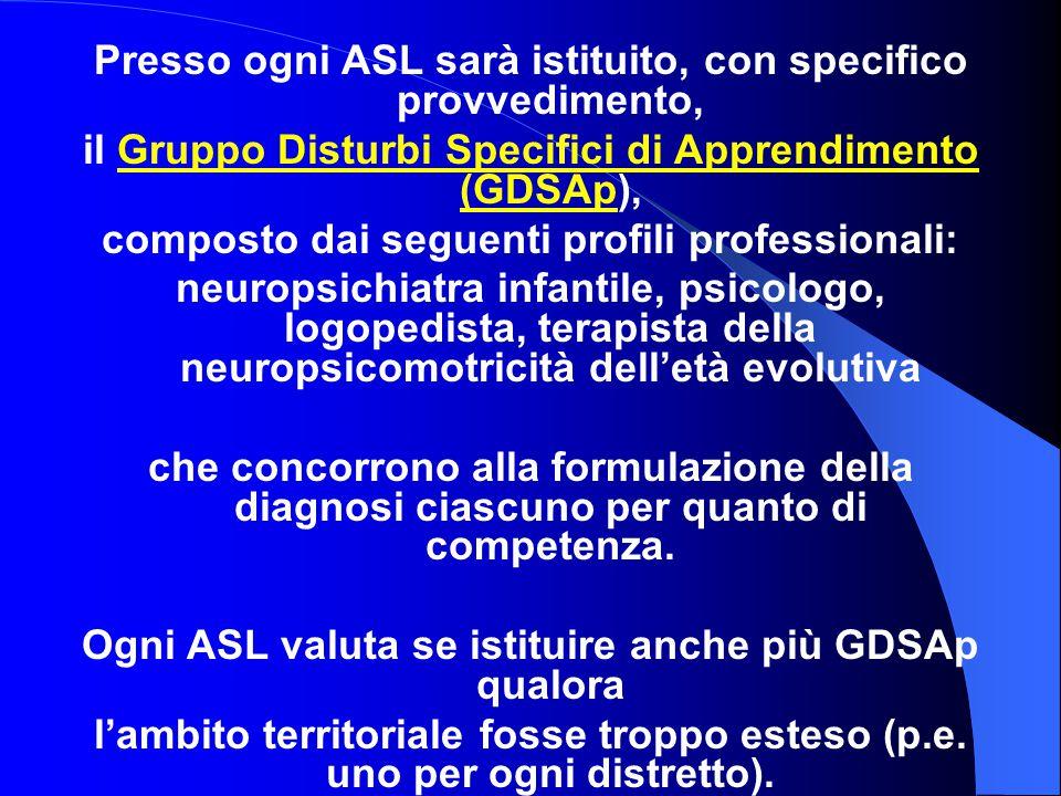 Presso ogni ASL sarà istituito, con specifico provvedimento, il Gruppo Disturbi Specifici di Apprendimento (GDSAp), composto dai seguenti profili prof