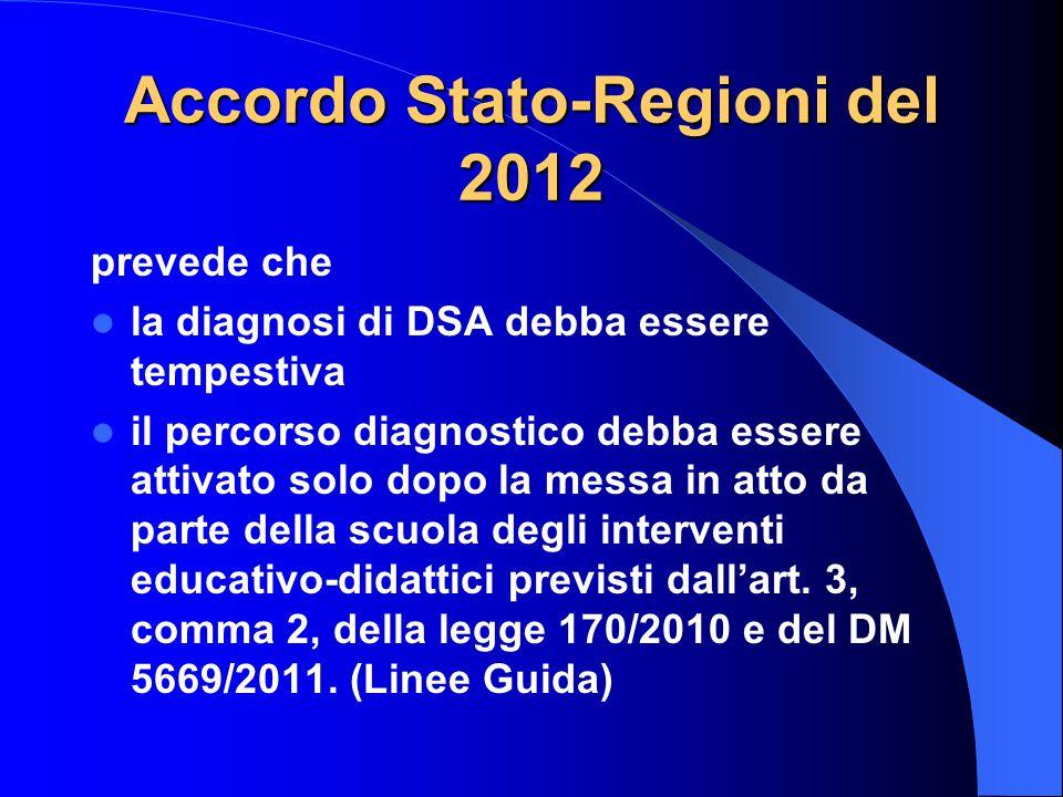 Accordo Stato-Regioni del 2012 prevede che la diagnosi di DSA debba essere tempestiva il percorso diagnostico debba essere attivato solo dopo la messa