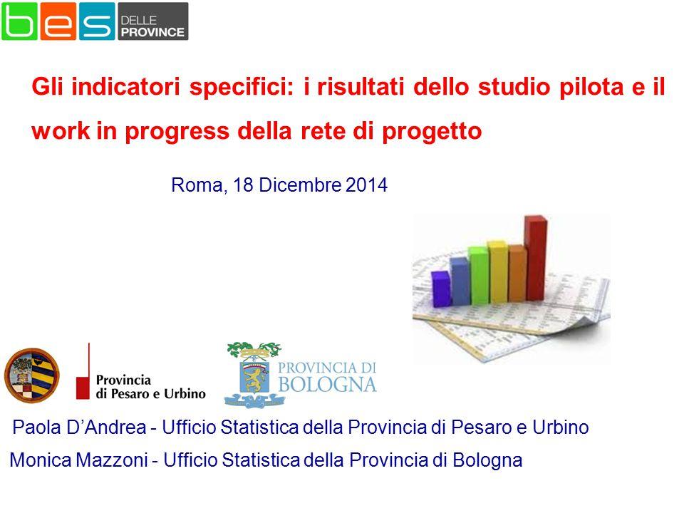 Paola D'Andrea - Ufficio Statistica della Provincia di Pesaro e Urbino Roma, 18 Dicembre 2014 Gli indicatori specifici: i risultati dello studio pilot