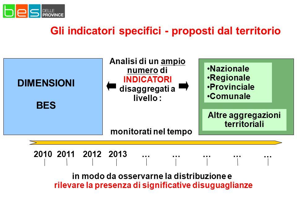 Analisi di un ampio numero di INDICATORI disaggregati a livello : in modo da osservarne la distribuzione e rilevare la presenza di significative disug