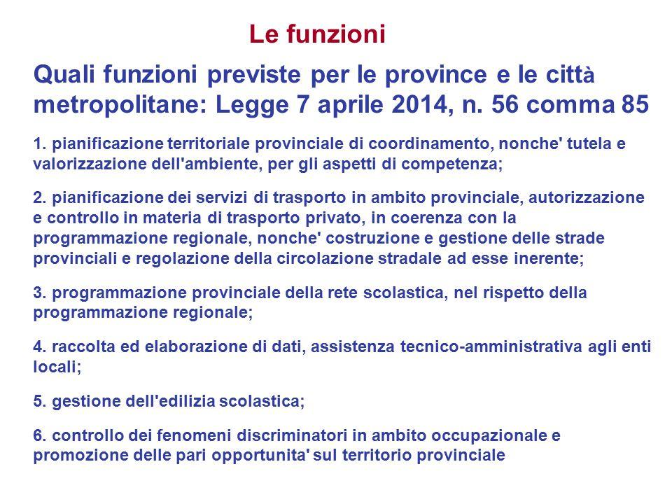 Quali funzioni previste per le province e le citt à metropolitane: Legge 7 aprile 2014, n. 56 comma 85 1. pianificazione territoriale provinciale di c
