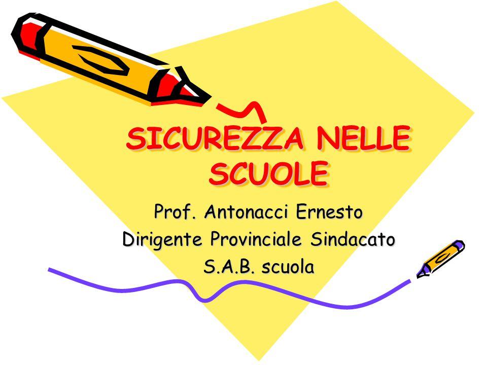 SICUREZZA NELLE SCUOLE Prof. Antonacci Ernesto Dirigente Provinciale Sindacato S.A.B. scuola