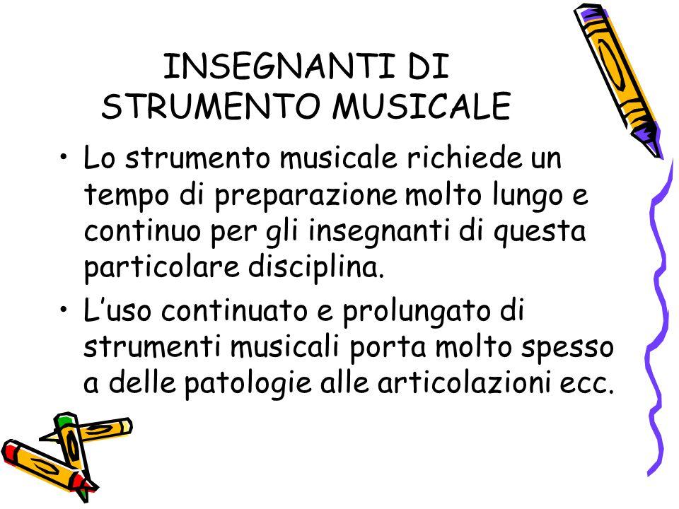 INSEGNANTI DI STRUMENTO MUSICALE Lo strumento musicale richiede un tempo di preparazione molto lungo e continuo per gli insegnanti di questa particolare disciplina.