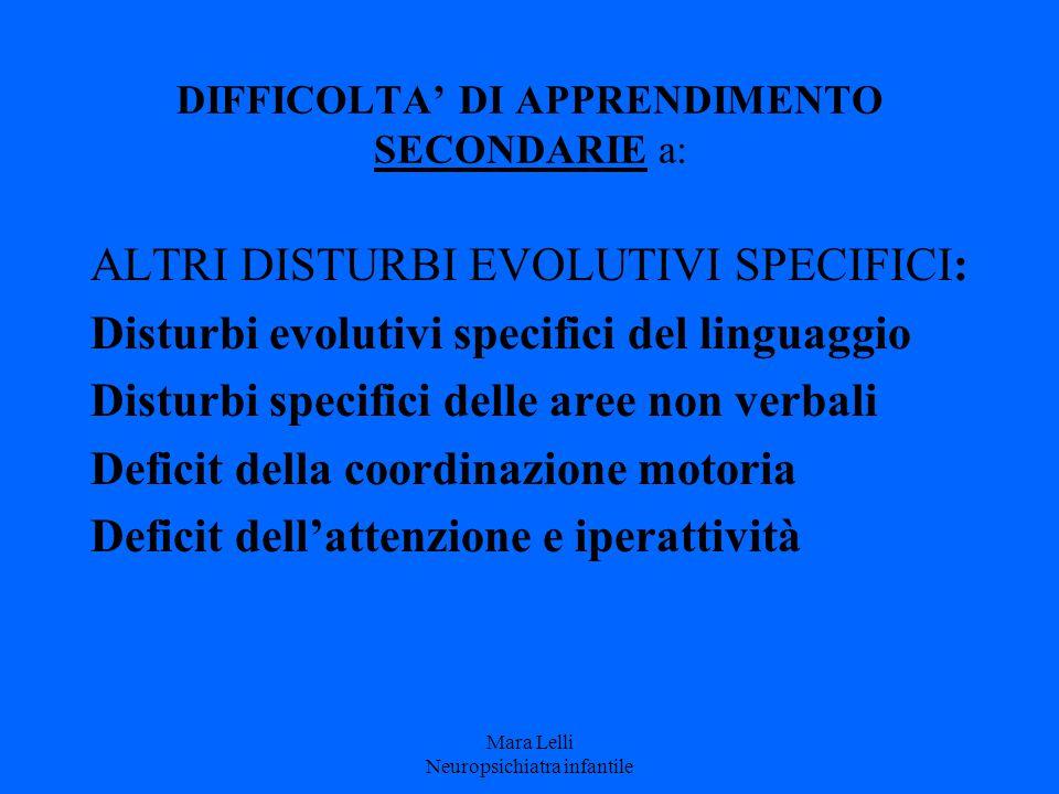 DIFFICOLTA' DI APPRENDIMENTO SECONDARIE a: ALTRI DISTURBI EVOLUTIVI SPECIFICI: Disturbi evolutivi specifici del linguaggio Disturbi specifici delle ar