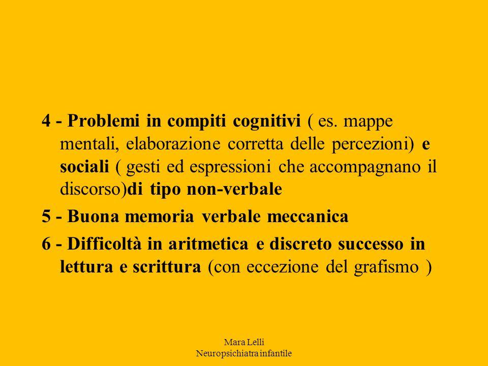 4 - Problemi in compiti cognitivi ( es. mappe mentali, elaborazione corretta delle percezioni) e sociali ( gesti ed espressioni che accompagnano il di