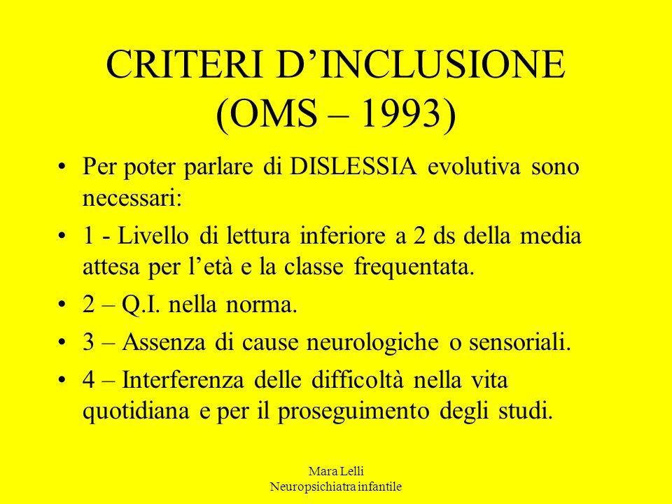 Mara Lelli Neuropsichiatra infantile CRITERI D'INCLUSIONE (OMS – 1993) Per poter parlare di DISLESSIA evolutiva sono necessari: 1 - Livello di lettura